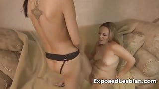 Hotties screwing with rubber dildo