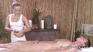 Blonde masseur giving cock massage and fuck