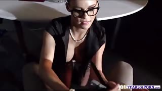 Busty beauty Peta Jensen gives under the table bj and fucked
