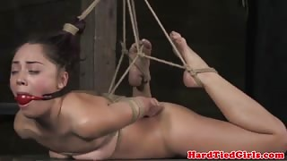 Ball tied submissive gets it hard