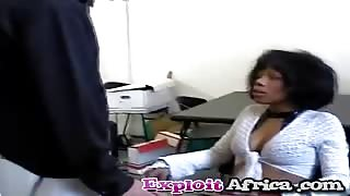 African babe talked into threesome with white studs