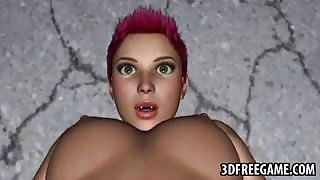 Hot 3D redhead lesbian babe getting her pussy licked