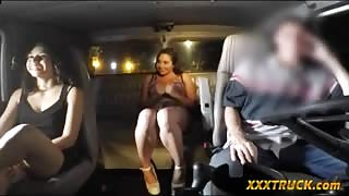 Brunette babe gives head and gets banged by tow truck driver