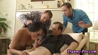 Shemale sucking cock and jerking off