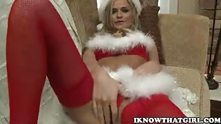 Gal In Santa Outfit Nails Guy's Rod