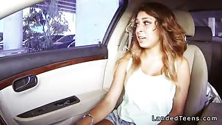 Busty Mexican teen blowjob in the car