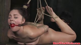 Gagged and toyed hair bondage sub action