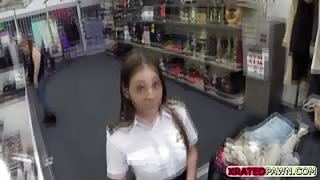 Pretty horny brunette Steward gets fucked by the shop owner