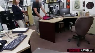 Sexy brunette business woman selling old stuff ends up in the office