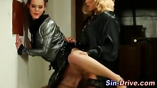 Glam clothed hoe rides sissys cock