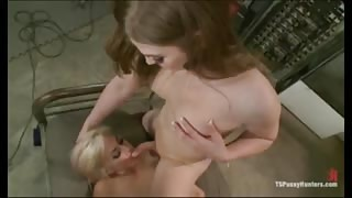 Sexy blond fucked by a girl with a cock