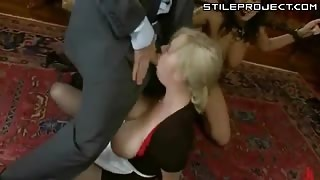 Brunette lady abused in her own house in hard bondage sex by man and woman