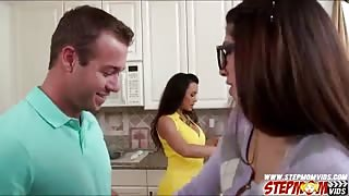 Superb MILF Lisa Ann joins teen couple in the kitchen