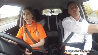 Natural busty babe bang driving examiner