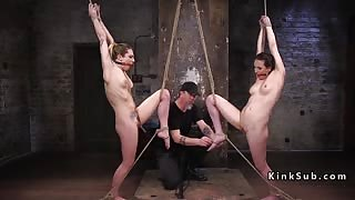 Two tied up babes suffer extreme bondage