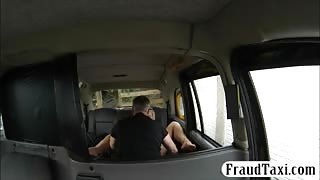 Big boobs blonde passenger pussy screwed by fake driver