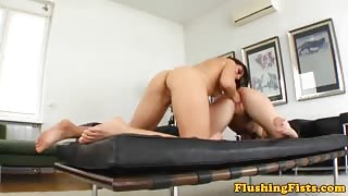Fetish lesbo fisting action up close