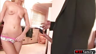 Skinny blonde Tristyn Kennedy almost throw up while she deepthroat her stepdad cock