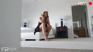 Step sister changing in her bedroom spy cam with Brett Rossi