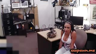 Busty latina convinced to suck and fuck at the pawnshop