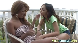 Black step sis fingering