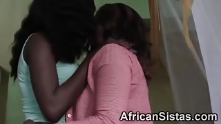 Bedroom lesbian sex with hot ebony babes
