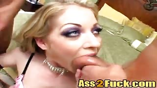 Slutty call girl in stockings double cock invasion