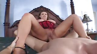 Brunette chick sticks cock down throat and pussy