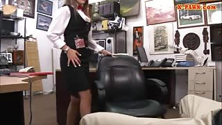 Card dealer nailed by pervert pawnkeeper at the pawnshop