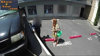 Beautiful redhead girl gives blowjob to tow truck driver