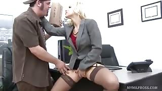 Boss Ashley Fires Deep-Throats Joey's Cock