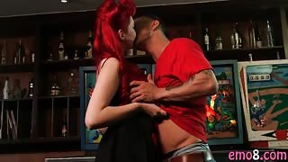 Emo redhead bitch Amber Ivy has a big ass and gets fucked