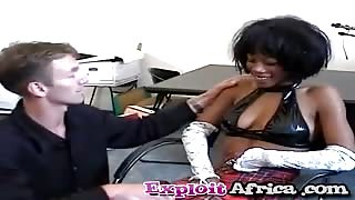 Black babe riding white cock on couch interracial
