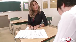 Hot horny teacher Aika get lavish by her student and gets fuck