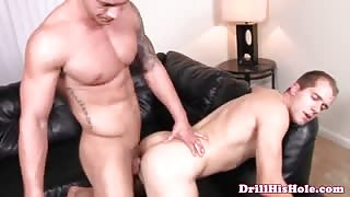 Ruthless gay hunk ass ravaging bottom