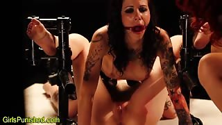 Restrained lesbian toys slave