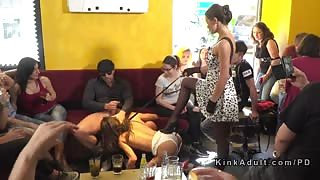 Sub sucking and gangbanging in public bar
