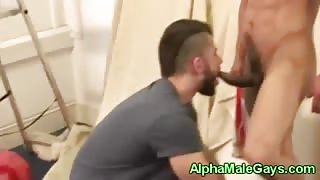 Gay stud sucking on straight pals cock