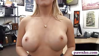Busty blonde woman drilled by pawn dude in his office