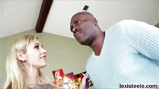 Blonde Kleio rides Lexs big black cock and gets a messy facial