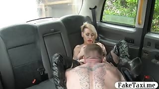 Busty tattooed passenger pussy rammed by fake driver