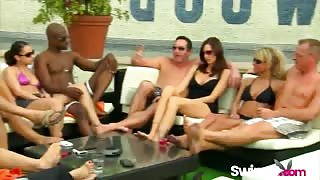 Swinger couples reality show orgy doggy riding