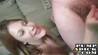 She milks his dick for cum