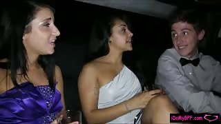Prom night turns into hardcore fucking in the limousine