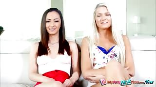 Pretty teens Ashlee and Lily loves a threesome fuck